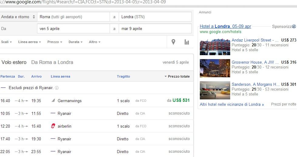 google flights, motore di ricerca che genera roi