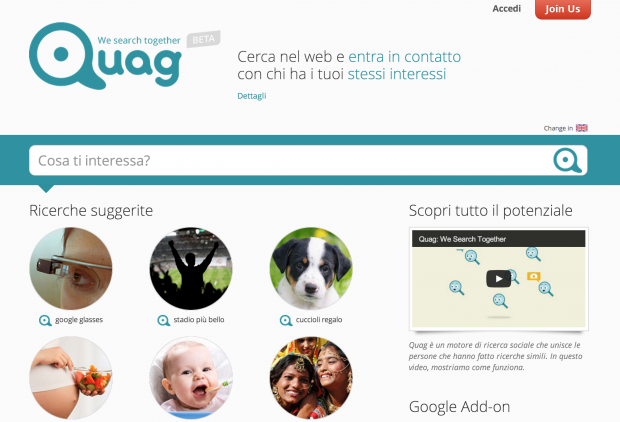 quag il social search engine italiano